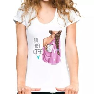 NEW first coffee Graphic tee womens summer L